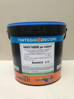 NANO-THERM per esterni, idropittura con effetto termoisolante e termoriflettente, traspirante, idrorepellente, antilaga, bianco 5 l Barozzi